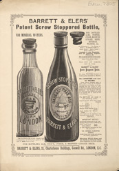 Advert For Barrett & Elers Screw Stopped Bottle